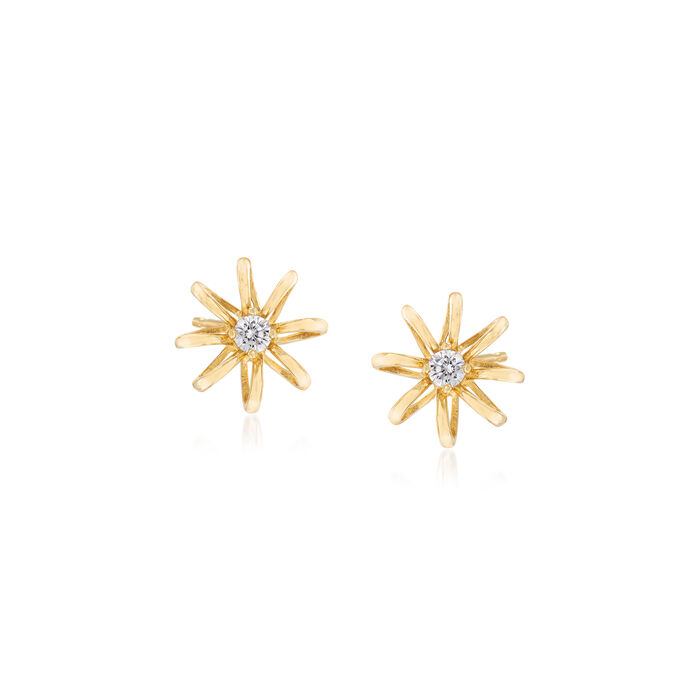 Child's 14kt Yellow Gold Flower Stud Earrings with CZ Accents, , default