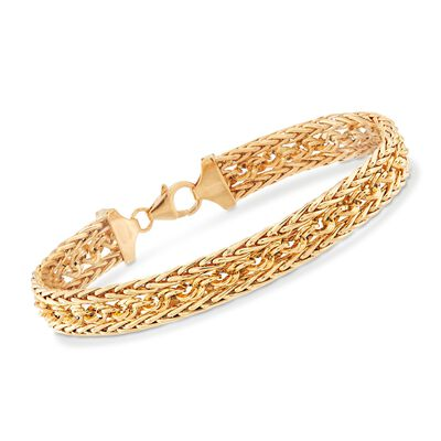 Italian 18kt Yellow Gold Cable and Wheat Chain Bracelet, , default