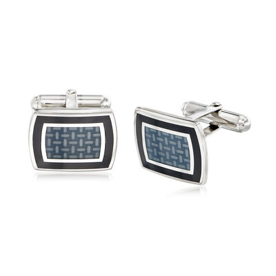 Black and Gray Framed Crisscross Motif Cuff Links in Sterling Silver, , default