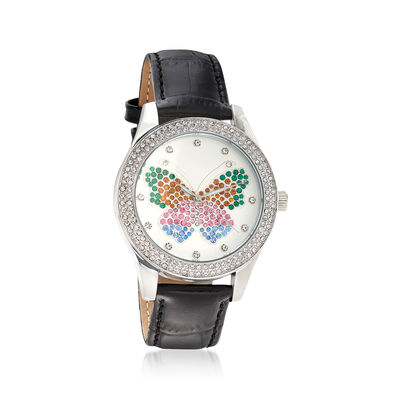 Saint James Women's Multicolored Crystal Butterfly Watch with Black Leather in Silvertone