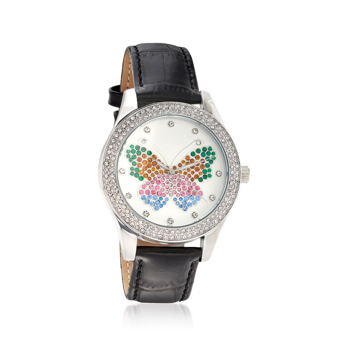Saint James Women's Multicolored Crystal Butterfly Watch with Black Leather in Silvertone, , default