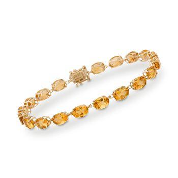 17.00 ct. t.w. Citrine Tennis Bracelet in 14kt Yellow Gold, , default