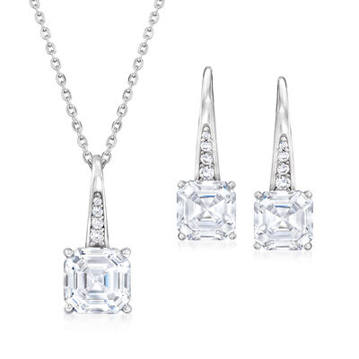 7.05 ct. t.w. CZ Jewelry Set: Pendant Necklace and Drop Earrings in Sterling Silver