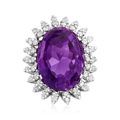 C. 1950 Vintage 25.15 Carat Amethyst and 1.55 ct. t.w. Diamond Ring in 14kt White Gold, , default