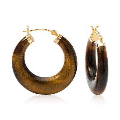 Tiger's Eye Hoop Earrings in 14kt Yellow Gold, , default