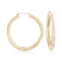 14kt Yellow Gold Tube-Style Hoop Earrings, , default