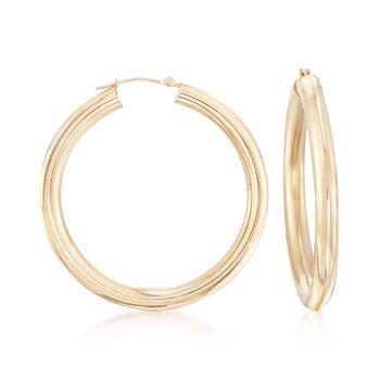 "14kt Yellow Gold Tube-Style Hoop Earrings. 1 5/8"", , default"