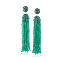 Green Onyx Bead Tassel Earrings in Sterling Silver, , default