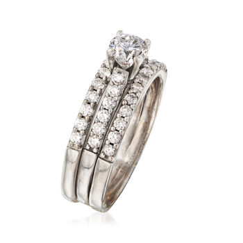 C. 1990 Vintage 1.50 ct. t.w. Diamond Engagement Ring in 18kt White Gold. Size 9.5