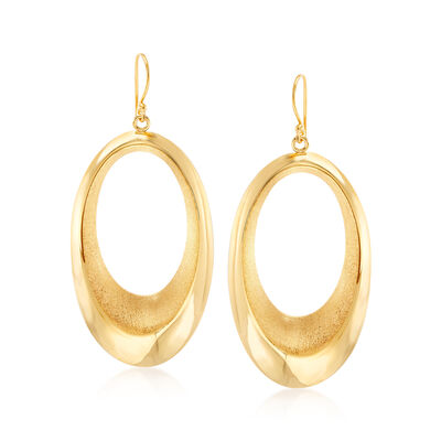 14kt Yellow Gold Over Sterling Silver Open Oval Drop Earrings, , default