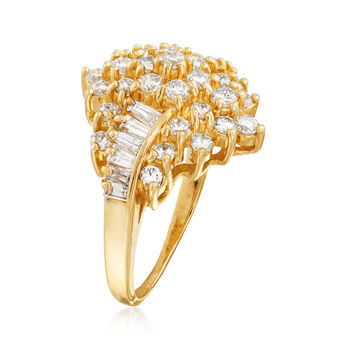 C. 1980 Vintage 2.00 ct. t.w. Diamond Cluster Ring in 14kt Yellow Gold. Size 7.25, , default