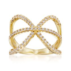 .60 ct. t.w. CZ Open Loops Ring in 14kt Gold Over Sterling. Size 5, , default