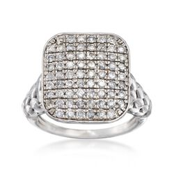 .95 ct. t.w. Pave Diamond Square-Top Ring in Sterling Silver. Size 7, , default