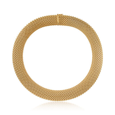C. 1980 Vintage 14kt Yellow Gold Mesh Necklace