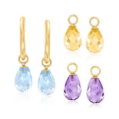 Interchangeable Jewelry Set: 8.00ct. t.w. Multi-Gemstone C-Hoop Drop Earrings in 14kt Yellow Gold