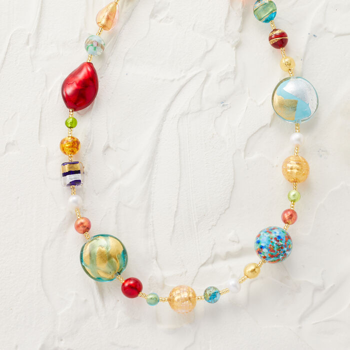 Italian 7.5mm Cultured Pearl and Murano Glass Bead Necklace in 18kt Gold Over Sterling