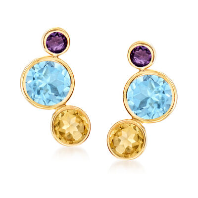 7.60 ct. t.w. Multi-Gemstone Earrings in 14kt Yellow Gold