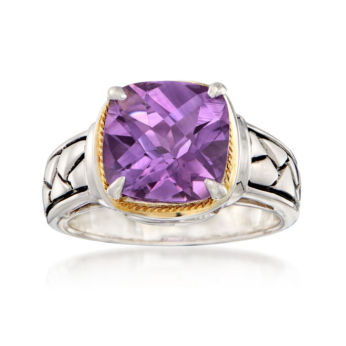 6.00 Carat Amethyst Woven Ring in Sterling Silver and 14kt Yellow Gold, , default