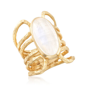 Multi-Row Moonstone Ring in 18kt Yellow Gold Over Sterling Silver, , default