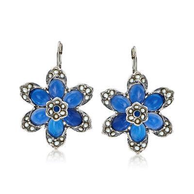 Italian 2mm Cultured Pearl and Blue Chalcedony Flower Drop Earrings in Sterling Silver, , default