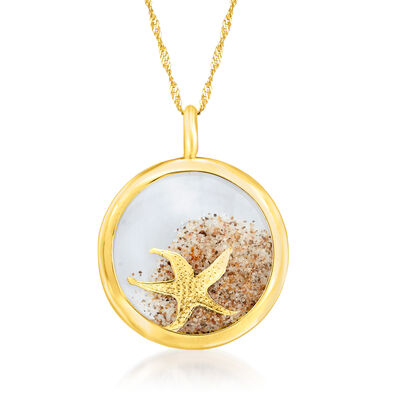 14kt Yellow Gold Starfish and Sand Crystal Pendant Necklace