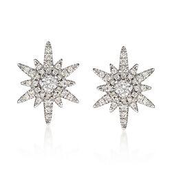 Gabriel Designs .39 ct. t.w. Diamond Starburst Earrings in 14kt White Gold, , default