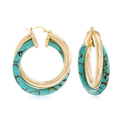 Andiamo Howlite Hoop Earrings in 14kt Yellow Gold, , default