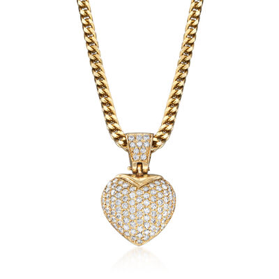 C. 1980 Vintage 2.80 ct. t.w. Diamond Heart Pendant Necklace in 14kt Yellow Gold