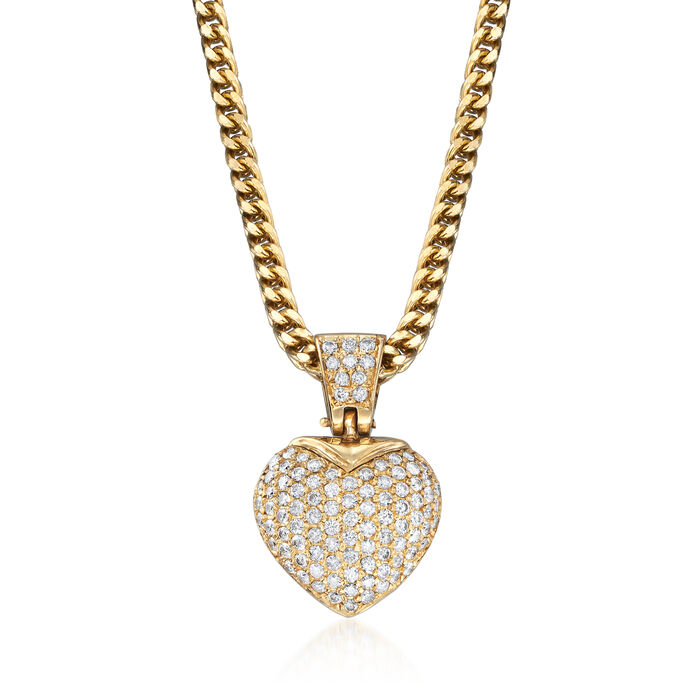 """C. 1980 Vintage 2.80 ct. t.w. Diamond Heart Pendant Necklace in 14kt Yellow Gold. 18.5"""""""