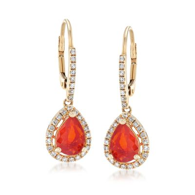 Orange Opal and .42 ct. t.w. Diamond Drop Earrings in 14kt Yellow Gold, , default