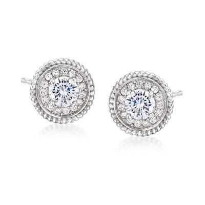 2.00 ct. t.w. CZ Halo Earrings in Sterling Silver
