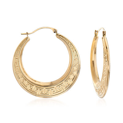14kt Yellow Gold Greek Key Hoop Earrings, , default