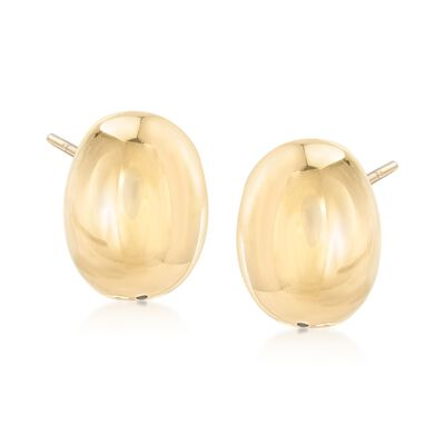 Italian 18kt Yellow Gold Oval Dome Earrings, , default