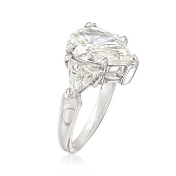 Majestic Collection 4.50 ct. t.w. Pear and Trillion Diamond Ring in 18kt White Gold, , default