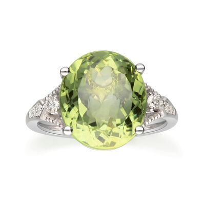 8.75 Carat Green Tourmaline and .59 ct. t.w. Diamond Ring in 14kt White Gold