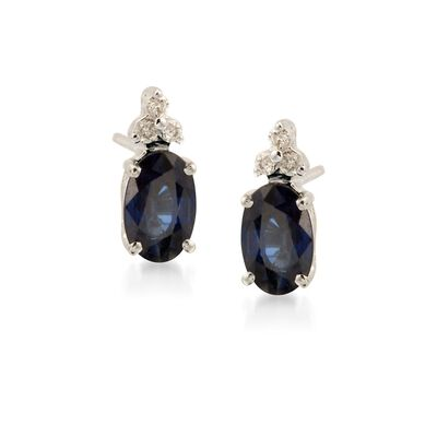 1.10 ct. t.w. Sapphire Earrings with Diamond Accents in 14kt White Gold, , default