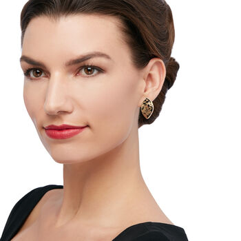 Italian 14kt Yellow Gold and Black Enamel Floral Drop Earrings, , default