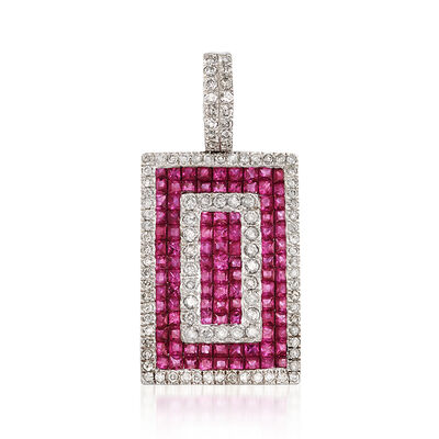 3.60 ct. t.w. Ruby and 1.10 ct. t.w. Diamond Rectangle Pendant in 18kt White Gold, , default