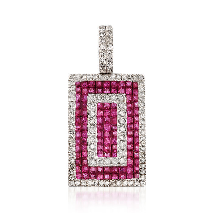 3.60 ct. t.w. Ruby and 1.10 ct. t.w. Diamond Rectangle Pendant in 18kt White Gold , , default