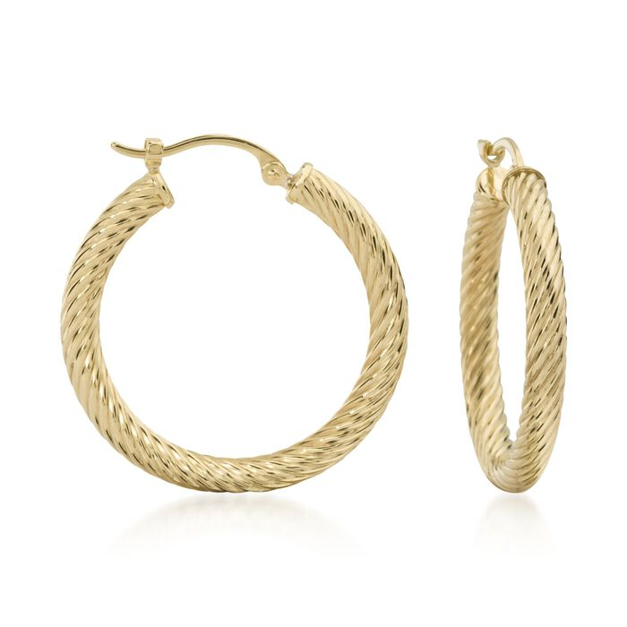 "14kt Yellow Gold Twisted Hoop Earrings. 1"", , default"