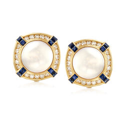 C. 1980 Vintage 13mm Cultured Mabe Pearl Clip-On Earrings With Diamonds and Sapphires in 18kt Gold , , default