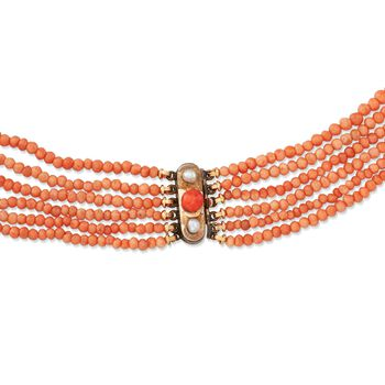 "C. 1960 Vintage 3mm Coral Bead Multi-Strand Necklace with 14kt Gold. 16.5"", , default"