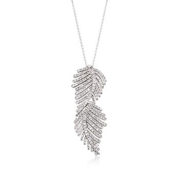 "1.20 ct. t.w. Diamond Feather Pendant Necklace in 14kt White Gold. 16.5"", , default"