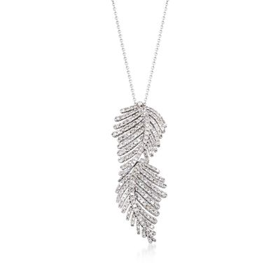 1.20 ct. t.w. Diamond Feather Pendant Necklace in 14kt White Gold, , default