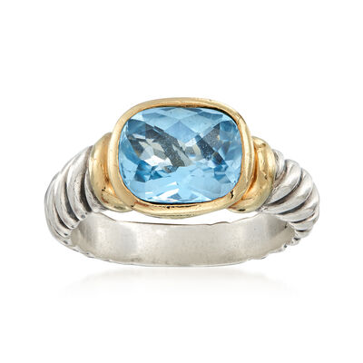 C. 1990 Vintage David Yurman 3.50 Carat Blue Topaz Ring in Sterling Silver and 18kt Yellow Gold, , default