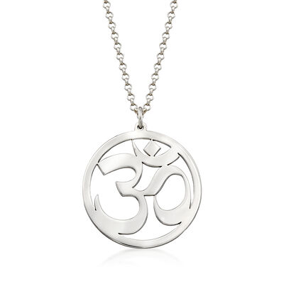 Sterling Silver Om Symbol Pendant Necklace, , default