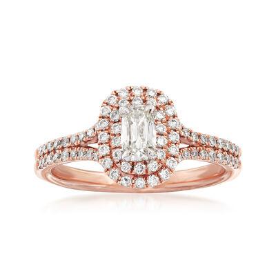 Henri Daussi .80 ct. t.w. Diamond Halo Engagement Ring in 14kt Rose Gold, , default