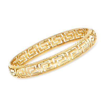 Italian 14kt Yellow Gold Cut-Out Greek Key Bangle Bracelet