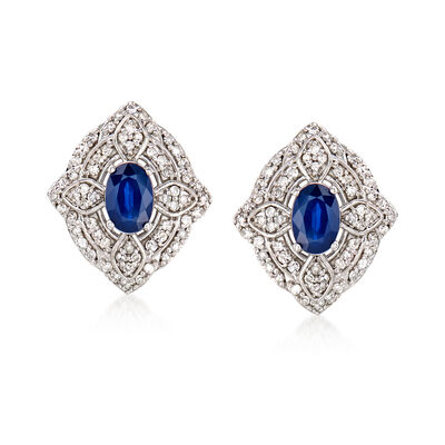 1.20 ct. t.w. Sapphire and .48 ct. t.w. Diamond Earrings in 14kt White Gold, , default