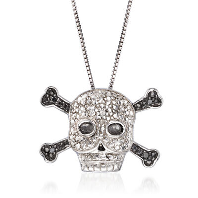 Black and White Diamond-Accented Skull and Crossbones Necklace in Sterling Silver, , default